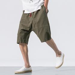 Men's Casual Loose Cotton Linen Knee Length Shorts
