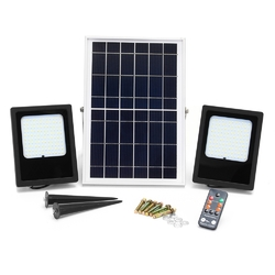 2 Pcs 15W  Waterproof 120 LED Flood Light Remote Control Light Sensor Solar Light