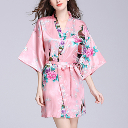 Silk Peacock Middle Sleeve Waist Straps Pajamas