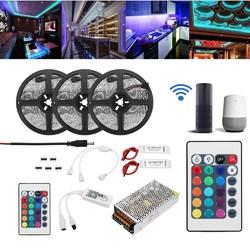 15M 2835 RGB Flexible IP65 Smart Wifi Control APP LED Strip Light Kit Work With Alexa AC110-240V