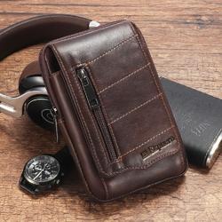 Ekphero Men Waist Bag Cowhide Fashion Belt Bag Phone Bag