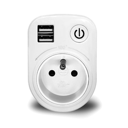 SH-50 5V Max 2.1A Indoor Electronic Smart 2 USB Ports 180 Degree Wall Socket Switch
