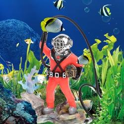 Aquarium Decor Hunter Treasure Figure Action Fish Tank Ornament Aquarium Realistic Design