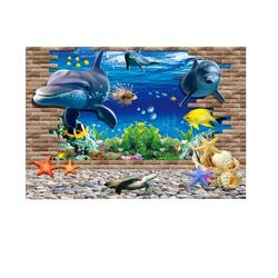 PVC Waterproof Single Side Ocean Natural Landscape Fish Bowl Aquarium Decor Sticker Glass