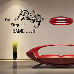 """Creative Art Game Handle Wall Stickers """"EAT SLEEP GAME"""" Black Vinyl Removable Printed Game Lovers Bedroom Wall Stickers Hot Play Game Handle Living Room Bedroom Personality Decoration Wall Stickers"""
