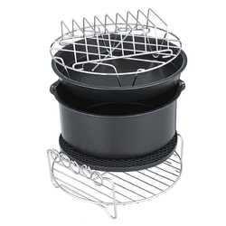 """7"""" 6Pcs Set Healthy Air Fryer Accessories Cake Pizza Barbecue Rack Pot Holder Baking Cooling Rack"""