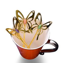 KCASA Tea Spoon Aluminum Alloy Coffee Spoon Capitellum Three-dimensional Butterfly Coffee Spoon Elegant Mixing Spoon