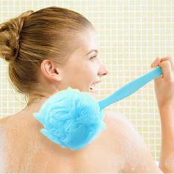 Large Super Soft Colorful Bath Ball Foam Shower Brush Long Handle Cleaning Brush
