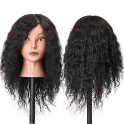 48cm 100% Human Hair Hairdressing Mannequin Head