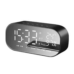 Portable LED Wireless bluetooth Speaker Dual Units FM Radio Alarm Clock USB Micro SD TF AUX Speaker