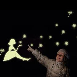 Dandelion Girl Stars Fluorescent Luminous Paste Stickers Night Light Living Room Decor Wall Sticker
