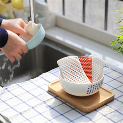 2PCS White and Red Silicone Hollow Dish Washing Sponge Scrubber Kitchen Bathroom Cleaning Tool Set
