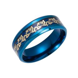 Ethnic Chinese Dragon Pattern Titanium Steel Finger Rings