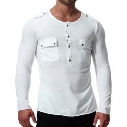 Casual Autumn Cotton Double Pockets T-shirts for Men