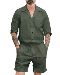 Casual Loose Coverall Conjoined Suit Men Onesies Loungewear