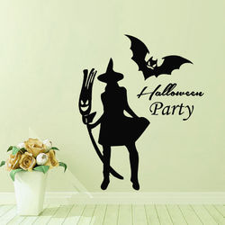Halloween New Witch Bat Wall Sticker Creative Carved Stickers PVC Waterproof Removable Wallpapers Removable Wallpapers Vinyl Art Decal Decor Waterproof Stickers