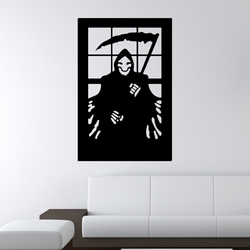 Halloween 3D Wallpapers Death Sickle Creative Horror PVC Self Adhesive Backdrop Wall Sticker Environmental Protection Halloween Wall Sticker Window Home Decoration Decal Decor