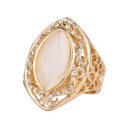 Ethnic White Rhinestone Ring Hollow Oval Geometric Rings