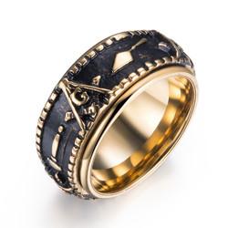 Ethnic Masonic Pattern Stainless Steel Finger Rings For Men