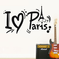 Honana I Love Paris Eiffel Tower Wall Sticker Home Decoration Black Adhesive PVC Decal Waterproof Vinyl Wallpaper Removable Wall Sticker Vinyl Art Mural Decoration Stickers