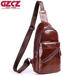 GZCZ Men Genuine Leather Vintage Crossbody Bag Chest Bag