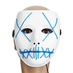 "Motorcycle Halloween Horror Costume Light Up Face Mask ""Smiling Stitched"" Rave Cosplay"