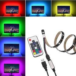 1M USB Power RGB 5050 SMD 30LED Strip LCD Monitor TV Background Light+17Key RF Remoter Kit DC5V