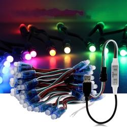 5M WS2811 RGB IP68 Full Color 50PCS Bulbs LED Pixel Module Strip Light with 3keys Controller DC5V