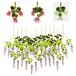 12 Pcs Artificial Silk Flower Wisteria Vine Hanging Garland Garden Wedding Decorations