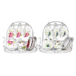 15pcs Fine Bone China Pottery Porcelain Elegant Coffee Tea Pot Cup Set Gifts