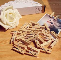 100PCS 35mm Natural Wooden Photo Paper Clips