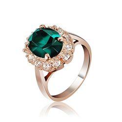 Elegant Italina Rose Gold Crystal Emerald Women Finger Ring