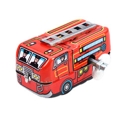 Vintage Fire Chief Firefighter Car Truck Clockwork Wind Up Tin Toys