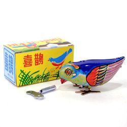Vintage Wind Up Bird Pecking Tin Mechanical Toy