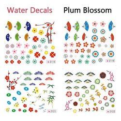 Folding Fan Plum Blossom Shape Water Transfer Decal Nail Art Sticker