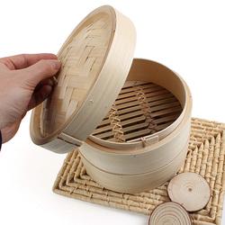 2 Tier Bamboo Steamer Dim Sum Basket Rice Pasta Kitchen Food Steaming Tools