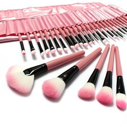 LuckyFine 32pcs Makeup Brushes Set Professional Cosmetic Brush Set Pink Eyeshadow Eyebrow Blush
