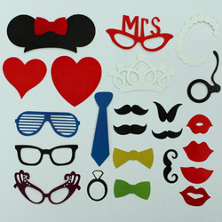 Category: Dropship Wedding & Events, SKU #954675, Title: 23 Pcs DIY Photo Booth Props Hat  Mustache On A Stick Wedding Favor