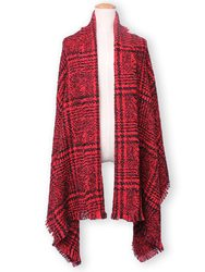 Fashion Casual Plaid Tassle Hem Knitted Tweed Scarf Shawl