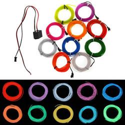 2M 10 Colors 12V Flexible Neon EL Wire Light Dance Party Decor Light