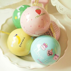 Happy Sweet Ball Tea Box Gift Candy Jewelry Storage Tin Can