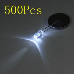 500pcs 20Ma F5 5MM Transparent Ultra Bright White LED Diode
