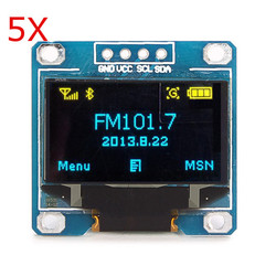 5Pcs 0.96 Inch Blue Yellow IIC I2C OLED Display Module Geekcreit for Arduino - products that work with official Arduino boards