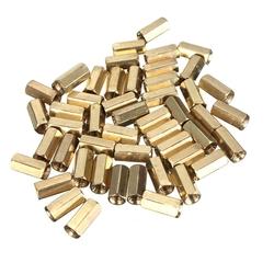 50pcs M3 10mm Double Pass Hollow Hex Copper Ferrule Cylinder Piller