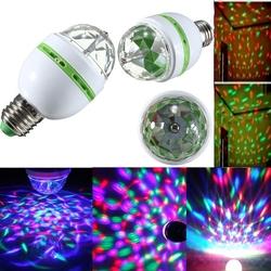 E27 3W RGB LED Bulb Colorful Auto Rotating Stage Disco Light 85-265V