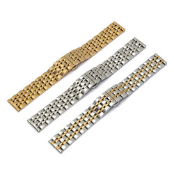 16mm Stainless 7 Beads Fold Buckle Watch Band