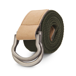 115CM Men Double Ring Loop Canvas Belt  Alloy Leather Buckle Pants Strip