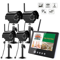 Category: Dropship Observation & Security, SKU #993367, Title: ENNIO SY903E14 9inch LCD Monitor DVR Wireless Kit Home CCTV Security System with Four Digital Cameras