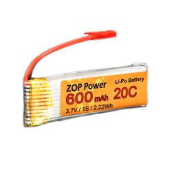 ZOP Power 3.7V 600mAh 20C Lipo Battery JST Plug
