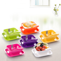 Colorful Melamine Tableware Solid Dessert Dish Dessert Bowl Spoon Suit
